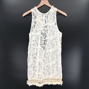 Topshop sheer Sleeveless Tunic Ivory Lace cover up